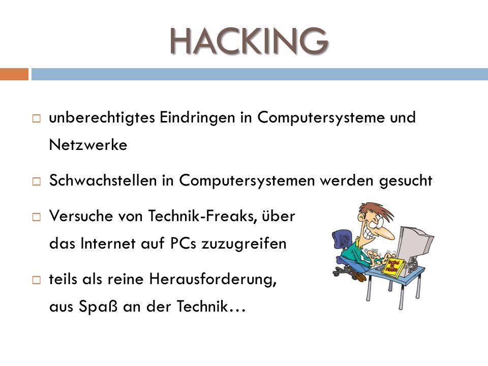 HACKING unberechtigtes Eindringen in Computersysteme und Netzwerke Schwachstellen in Computersystemen werden gesucht Versuche von Technik-Freaks, über