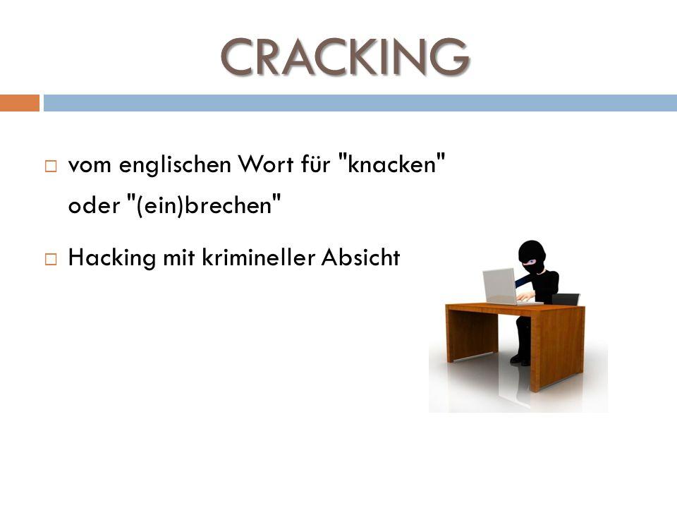 CRACKING auch: Entfernen von Kopierschutz: Herstellen einer Software-Kopie, die ohne Eingabe eines Lizenzschlüssels installiert werden kann