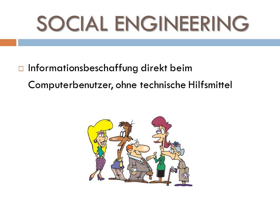 SOCIAL ENGINEERING Informationsbeschaffung direkt beim Computerbenutzer, ohne technische Hilfsmittel