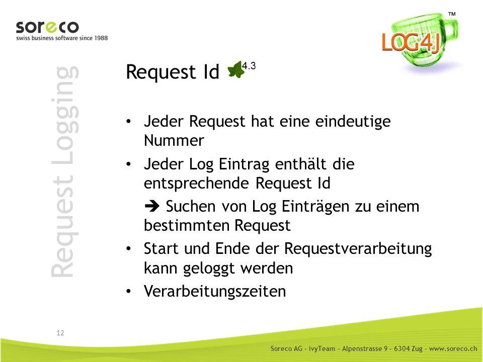 Soreco AG - ivyTeam – Alpenstrasse 9 – 6304 Zug – www.soreco.ch Request Logging Request Id Jeder Request hat eine eindeutige Nummer Jeder Log Eintrag