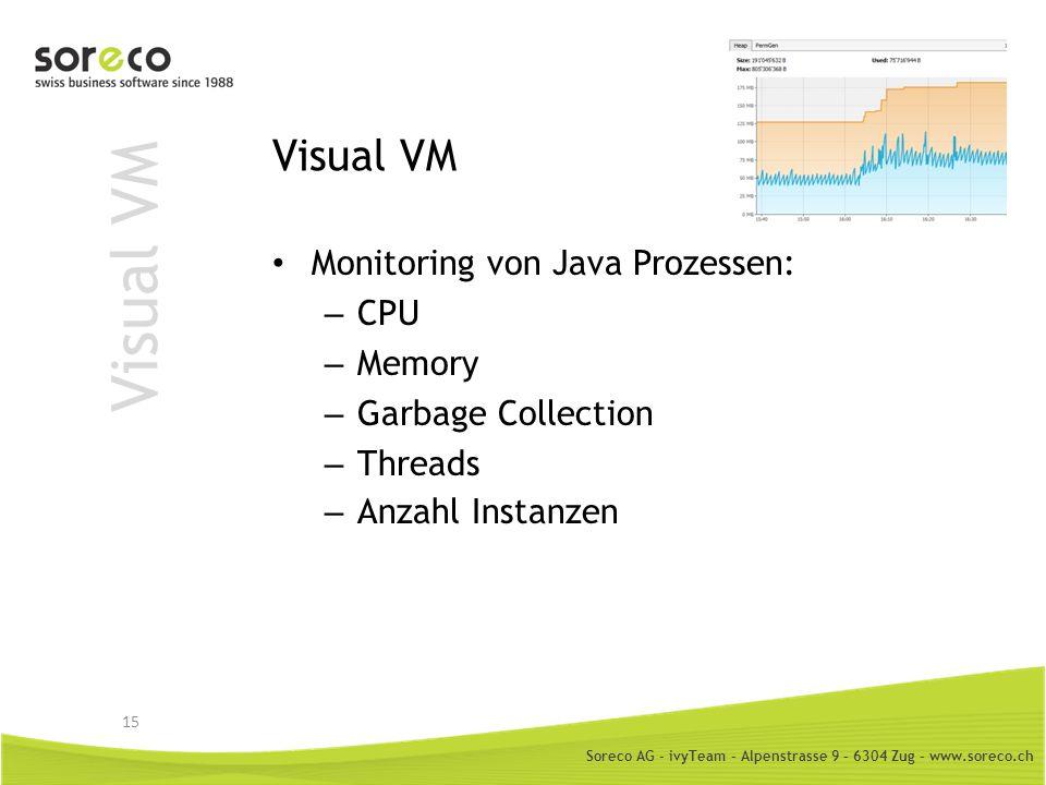 Soreco AG - ivyTeam – Alpenstrasse 9 – 6304 Zug – www.soreco.ch Visual VM Monitoring von Java Prozessen: – CPU – Memory – Garbage Collection – Threads