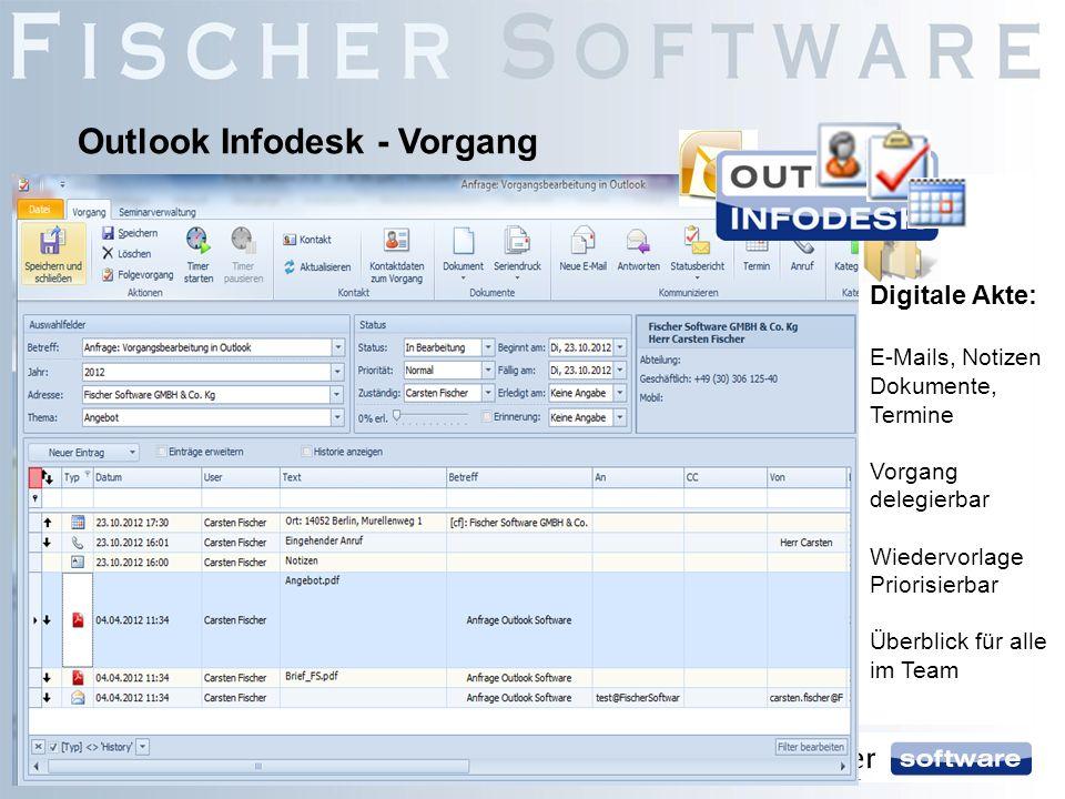 Outlook Infodesk - Vorgang Digitale Akte: E-Mails, Notizen Dokumente, Termine Vorgang delegierbar Wiedervorlage Priorisierbar Überblick für alle im Te