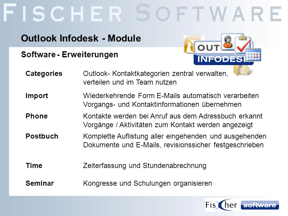 PostbuchKomplette Auflistung aller eingehenden und ausgehenden Dokumente und E-Mails, revisionssicher festgeschrieben Outlook Infodesk - Module Softwa