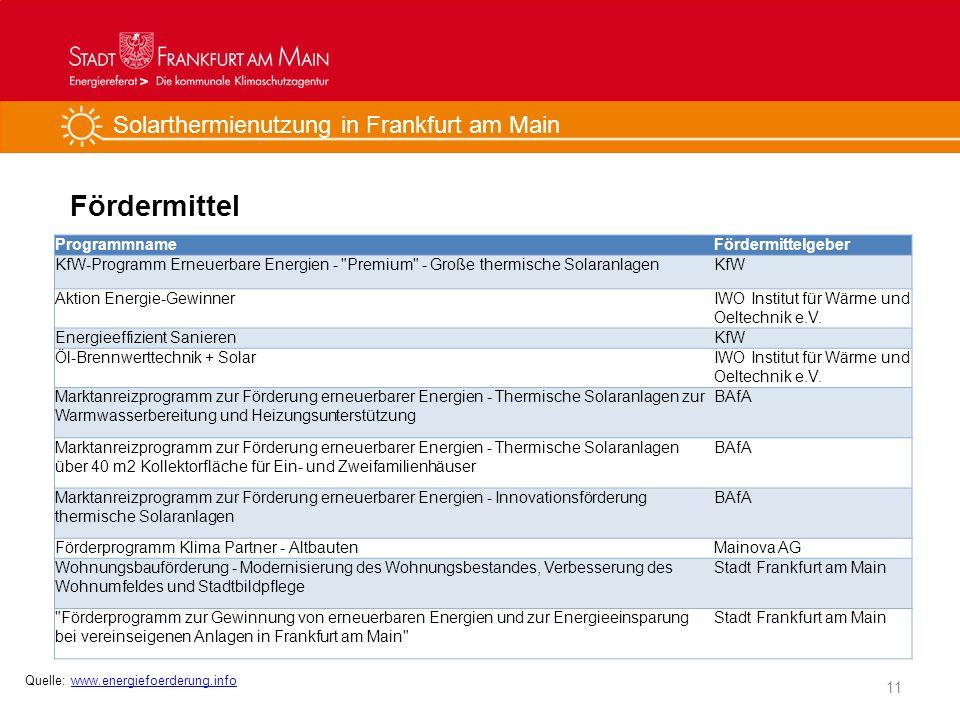 Solarthermienutzung in Frankfurt am Main Fördermittel 11 ProgrammnameFördermittelgeber KfW-Programm Erneuerbare Energien -