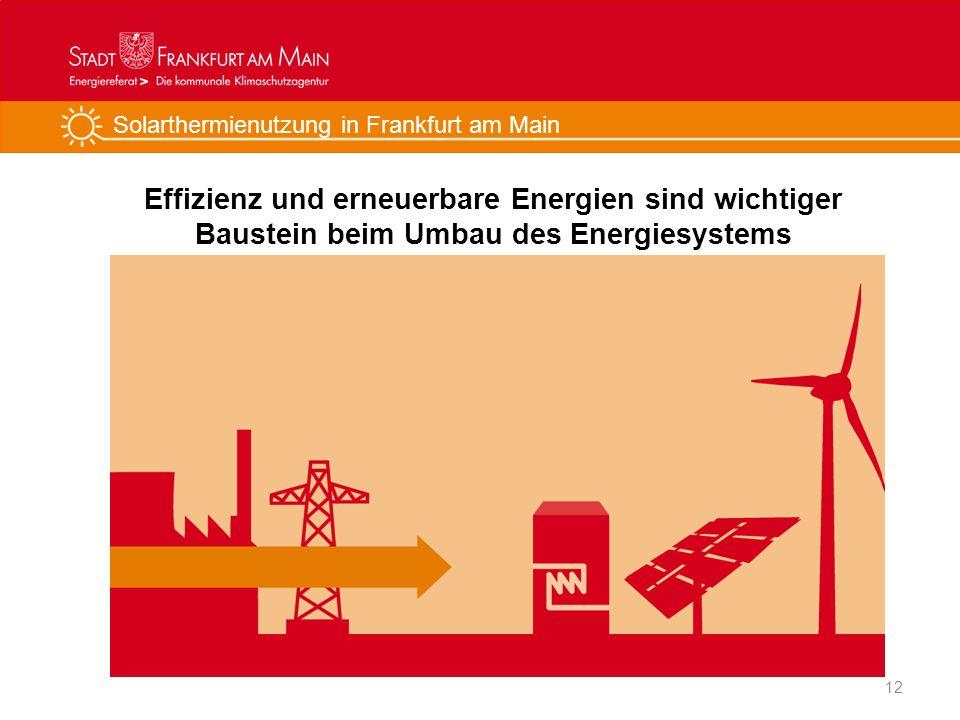Solarthermienutzung in Frankfurt am Main Effizienz und erneuerbare Energien sind wichtiger Baustein beim Umbau des Energiesystems 12