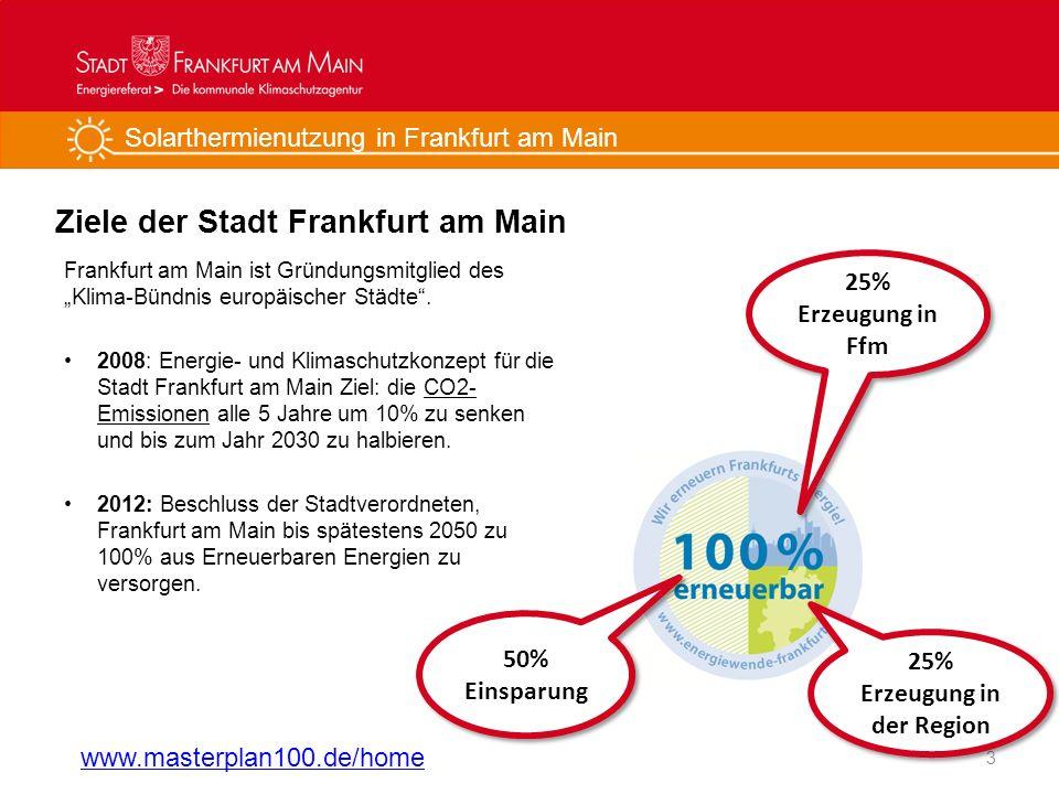 Solarthermienutzung in Frankfurt am Main Ziele der Stadt Frankfurt am Main Frankfurt am Main ist Gründungsmitglied des Klima-Bündnis europäischer Städ
