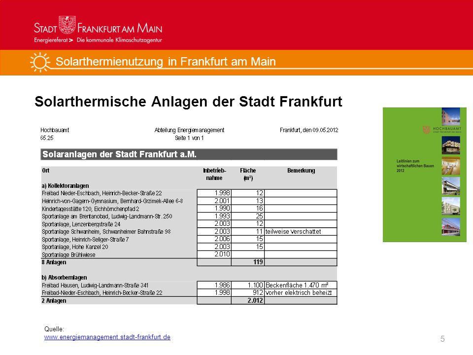 Solarthermienutzung in Frankfurt am Main Solarthermische Anlagen der Stadt Frankfurt 5 Quelle: www.energiemanagement.stadt-frankfurt.de
