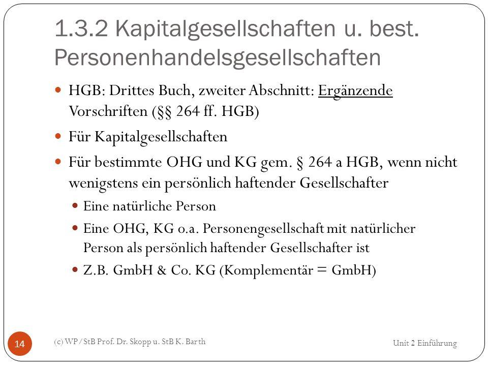 1.3.2 Kapitalgesellschaften u. best. Personenhandelsgesellschaften (c) WP/StB Prof. Dr. Skopp u. StB K. Barth 14 HGB: Drittes Buch, zweiter Abschnitt: