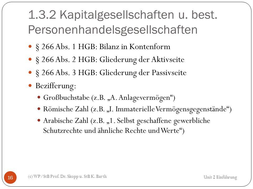 1.3.2 Kapitalgesellschaften u. best. Personenhandelsgesellschaften (c) WP/StB Prof. Dr. Skopp u. StB K. Barth 16 § 266 Abs. 1 HGB: Bilanz in Kontenfor