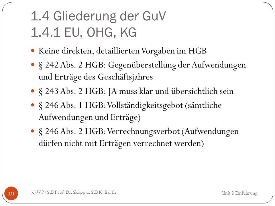 1.4 Gliederung der GuV 1.4.1 EU, OHG, KG (c) WP/StB Prof. Dr. Skopp u. StB K. Barth 19 Keine direkten, detaillierten Vorgaben im HGB § 242 Abs. 2 HGB: