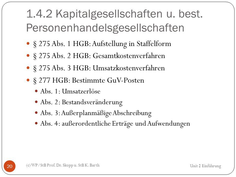 1.4.2 Kapitalgesellschaften u. best. Personenhandelsgesellschaften (c) WP/StB Prof. Dr. Skopp u. StB K. Barth 20 § 275 Abs. 1 HGB: Aufstellung in Staf