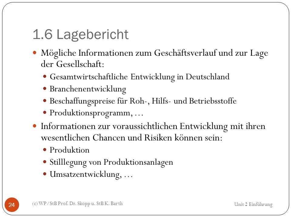1.6 Lagebericht (c) WP/StB Prof. Dr. Skopp u. StB K. Barth 24 Mögliche Informationen zum Geschäftsverlauf und zur Lage der Gesellschaft: Gesamtwirtsch