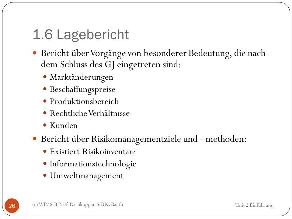 1.6 Lagebericht (c) WP/StB Prof. Dr. Skopp u. StB K. Barth 26 Bericht über Vorgänge von besonderer Bedeutung, die nach dem Schluss des GJ eingetreten