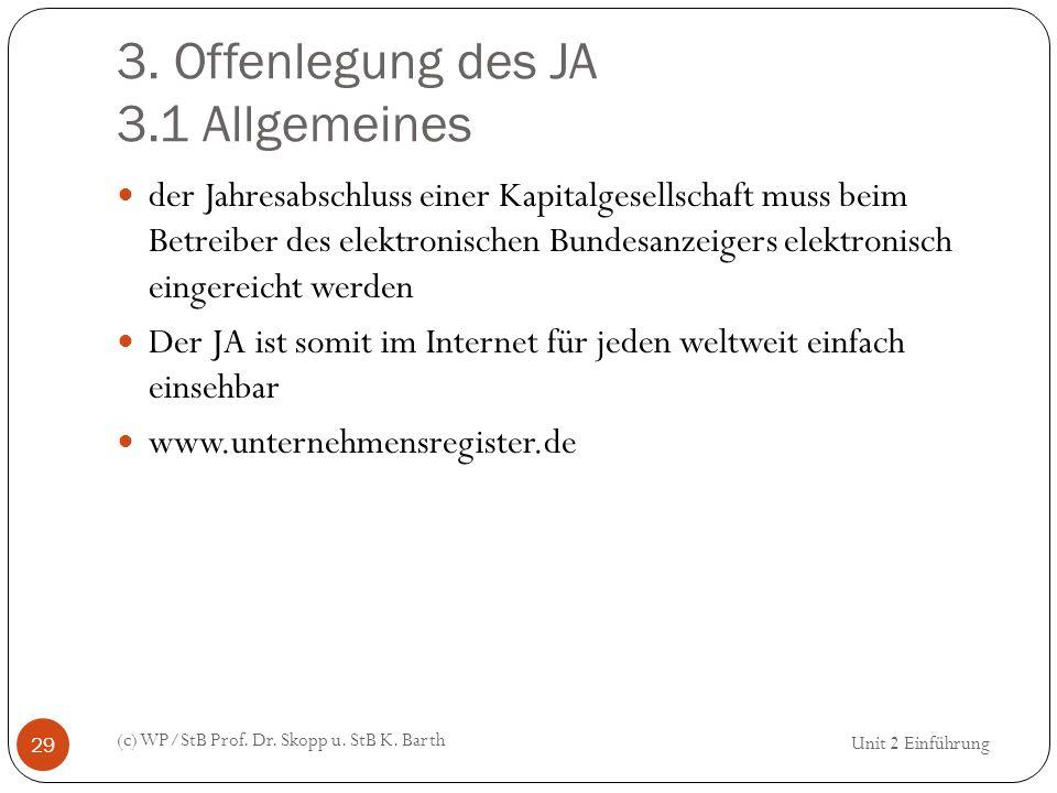 3. Offenlegung des JA 3.1 Allgemeines (c) WP/StB Prof. Dr. Skopp u. StB K. Barth 29 der Jahresabschluss einer Kapitalgesellschaft muss beim Betreiber