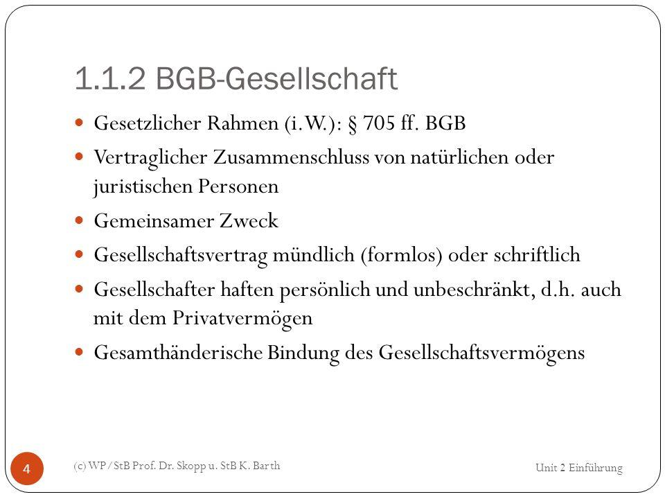 1.1.2 BGB-Gesellschaft (c) WP/StB Prof. Dr. Skopp u. StB K. Barth 4 Gesetzlicher Rahmen (i.W.): § 705 ff. BGB Vertraglicher Zusammenschluss von natürl