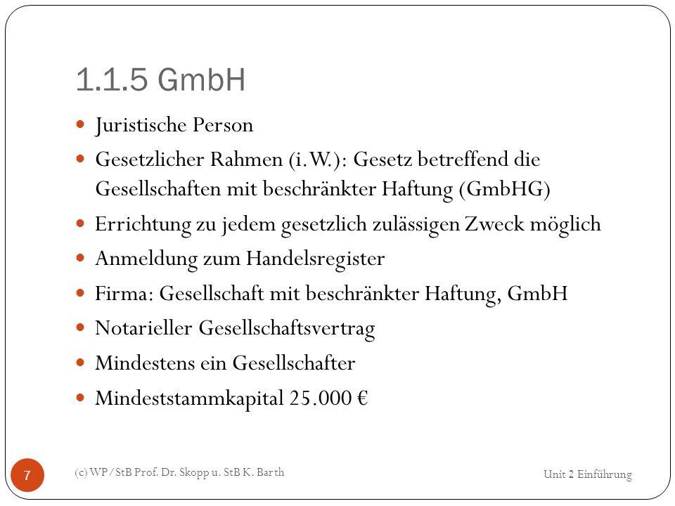 1.1.5 GmbH (c) WP/StB Prof. Dr. Skopp u. StB K. Barth 7 Juristische Person Gesetzlicher Rahmen (i.W.): Gesetz betreffend die Gesellschaften mit beschr
