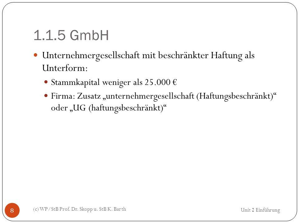 1.1.5 GmbH (c) WP/StB Prof. Dr. Skopp u. StB K. Barth 8 Unternehmergesellschaft mit beschränkter Haftung als Unterform: Stammkapital weniger als 25.00