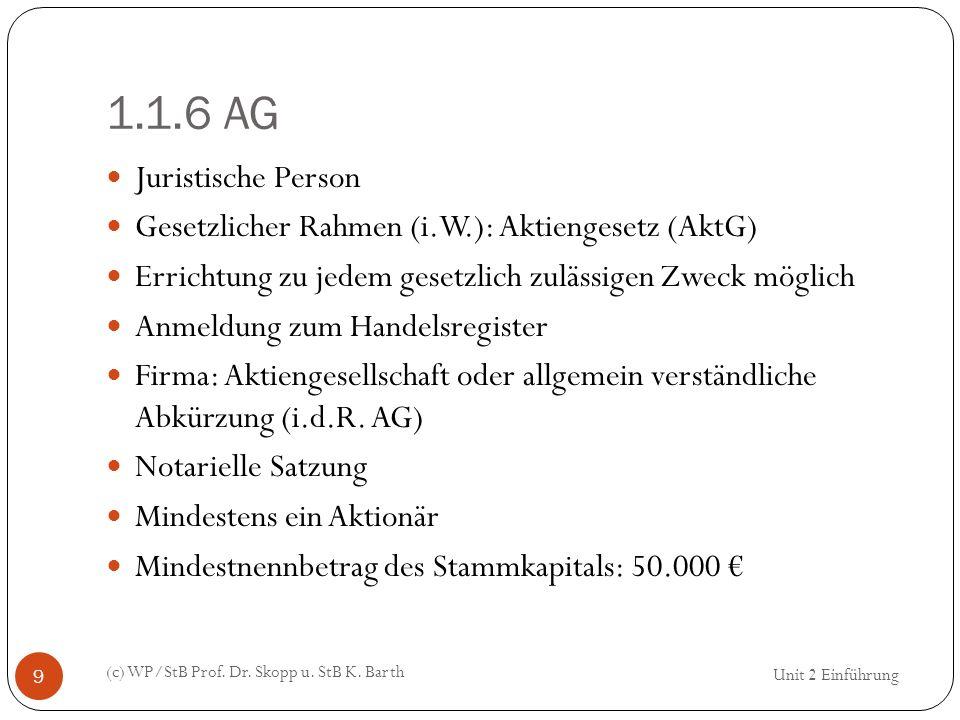 1.1.6 AG (c) WP/StB Prof. Dr. Skopp u. StB K. Barth 9 Juristische Person Gesetzlicher Rahmen (i.W.): Aktiengesetz (AktG) Errichtung zu jedem gesetzlic