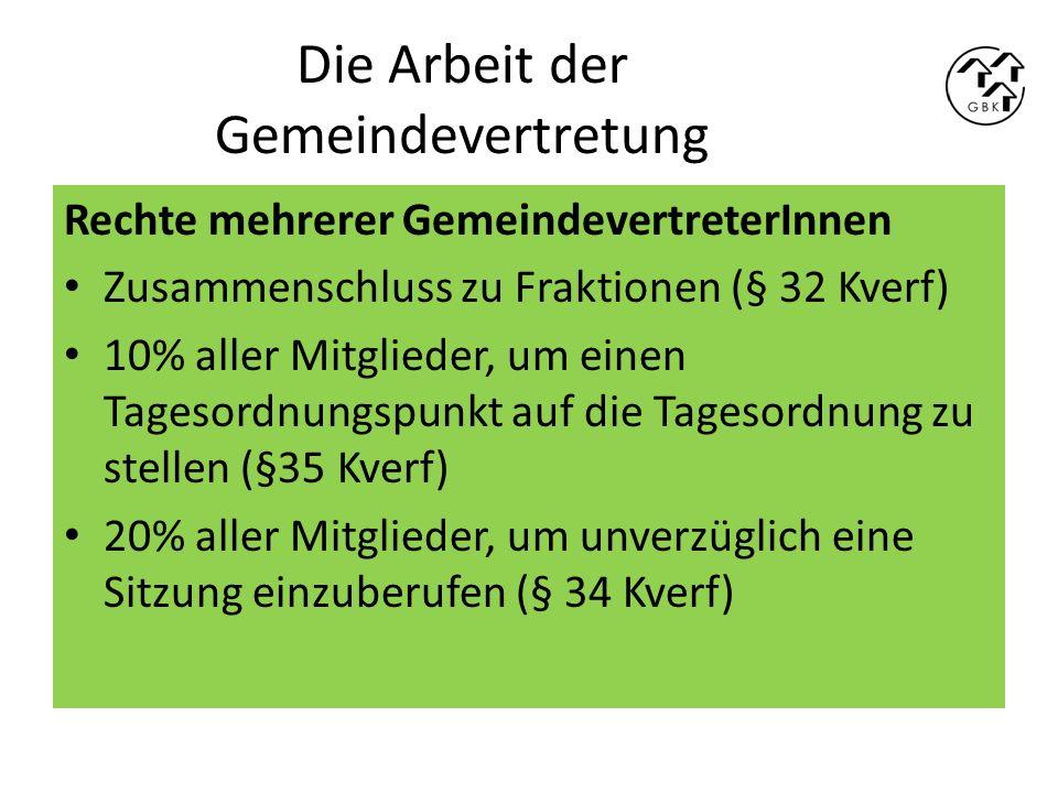 Die Arbeit der Gemeindevertretung Rechte von Fraktionen Tagesordnungspunkte vorschlagen (§ 35 Kverf) Anträge einbringen (§ 35 Kverf) Ausschussmitglieder benennen, wenn die Fraktion Anspruch auf Ausschusssitze hat (§43 Kverf) Anspruch auf Mittel für die Fraktionsarbeit, wenn der Haushaltsplan das vorsieht