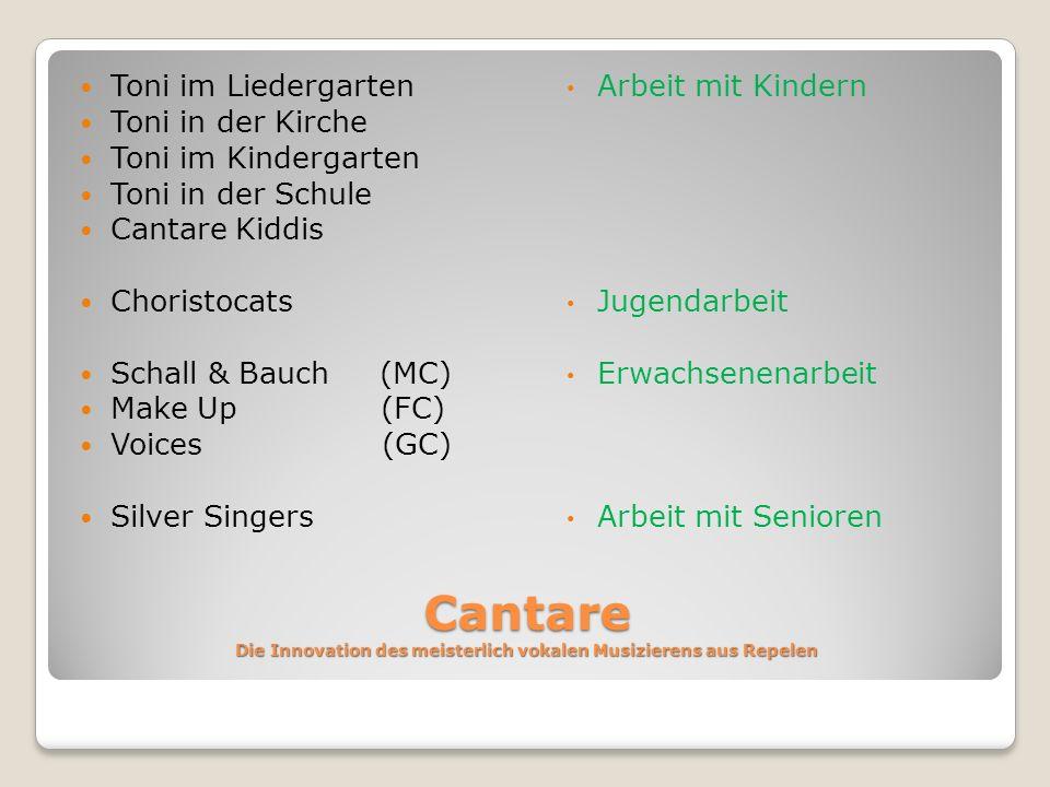 Cantare Die Innovation des meisterlich vokalen Musizierens aus Repelen Toni im Liedergarten Toni in der Kirche Toni im Kindergarten Toni in der Schule