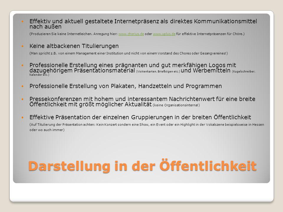 Darstellung in der Öffentlichkeit Effektiv und aktuell gestaltete Internetpräsenz als direktes Kommunikationsmittel nach außen (Produzieren Sie keine