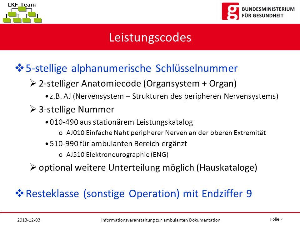 Folie 7 Informationsveranstaltung zur ambulanten Dokumentation LKF-Team Leistungscodes 5-stellige alphanumerische Schlüsselnummer 2-stelliger Anatomiecode (Organsystem + Organ) z.B.