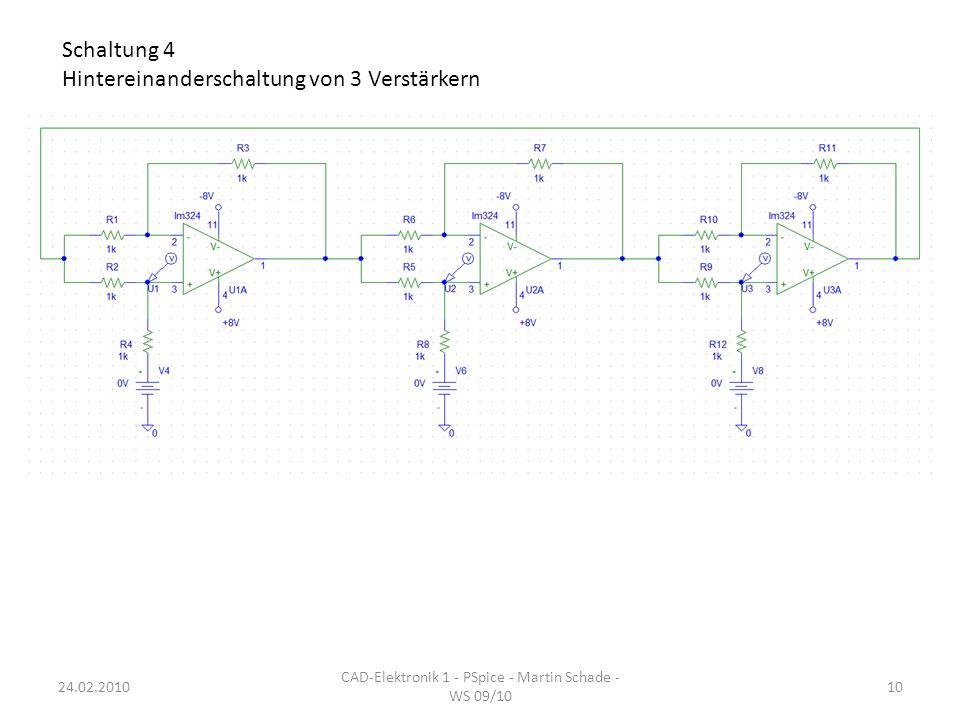 Schaltung 4 Hintereinanderschaltung von 3 Verstärkern CAD-Elektronik 1 - PSpice - Martin Schade - WS 09/10 1024.02.2010