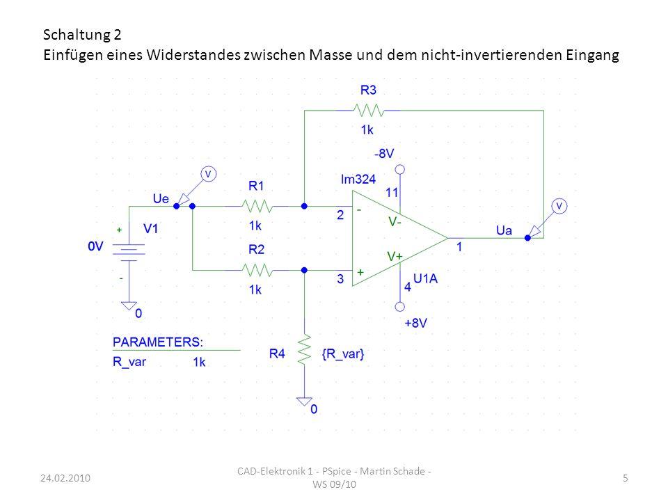 DC-Simulation: -8VUe+8V Ua für R4= 100MΩ (gelb), 1kΩ (pink), 1mΩ (türkis) R4=1mΩ: Entspricht der vorherigen Schaltung R4= 100MΩ: nicht-invertierender Verstärker R4= 1kΩ: Verstärkung = 0 CAD-Elektronik 1 - PSpice - Martin Schade - WS 09/10 624.02.2010