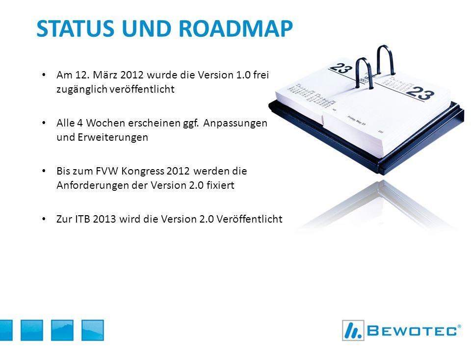 Am 12. März 2012 wurde die Version 1.0 frei zugänglich veröffentlicht Alle 4 Wochen erscheinen ggf. Anpassungen und Erweiterungen Bis zum FVW Kongress