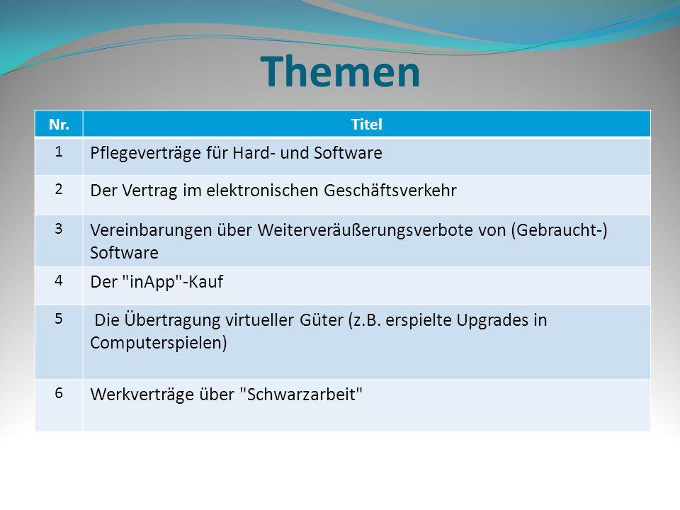 Themen Nr.Titel 1 Pflegeverträge für Hard- und Software 2 Der Vertrag im elektronischen Geschäftsverkehr 3 Vereinbarungen über Weiterveräußerungsverbo