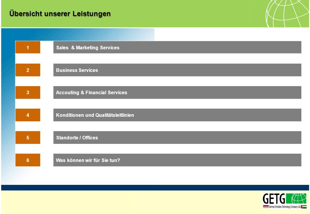 1Sales & Marketing Services 2Business Services 3Accouting & Financial Services 4Konditionen und Qualitätsleitlinien 5Standorte / Offices 6Was können w