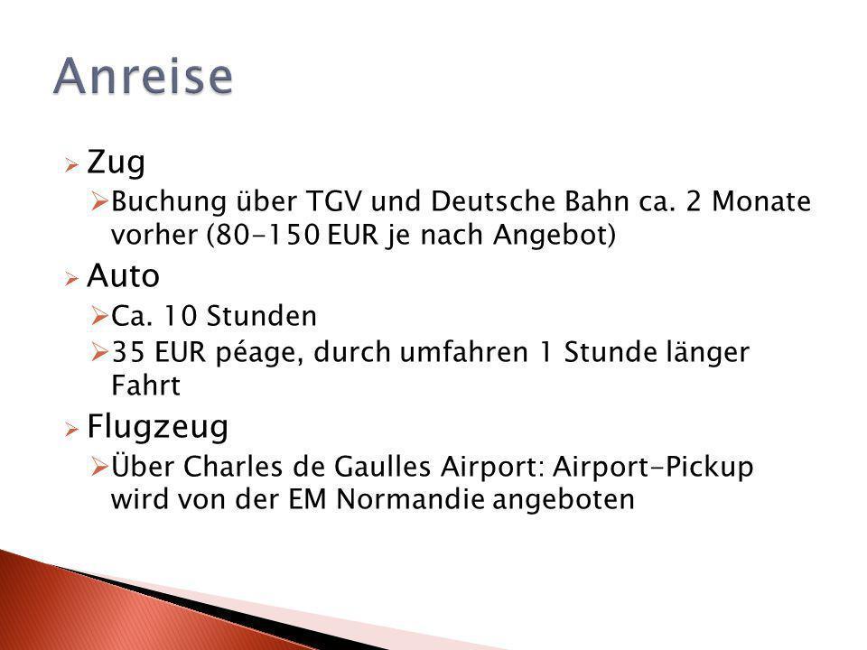 Zug Buchung über TGV und Deutsche Bahn ca.2 Monate vorher (80-150 EUR je nach Angebot) Auto Ca.