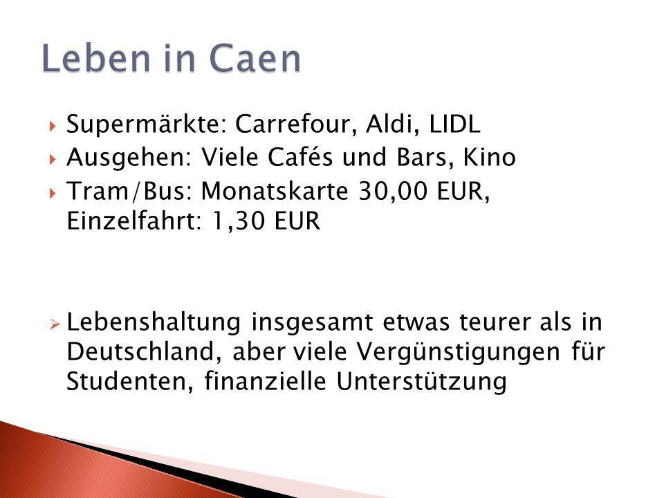 Supermärkte: Carrefour, Aldi, LIDL Ausgehen: Viele Cafés und Bars, Kino Tram/Bus: Monatskarte 30,00 EUR, Einzelfahrt: 1,30 EUR Lebenshaltung insgesamt etwas teurer als in Deutschland, aber viele Vergünstigungen für Studenten, finanzielle Unterstützung