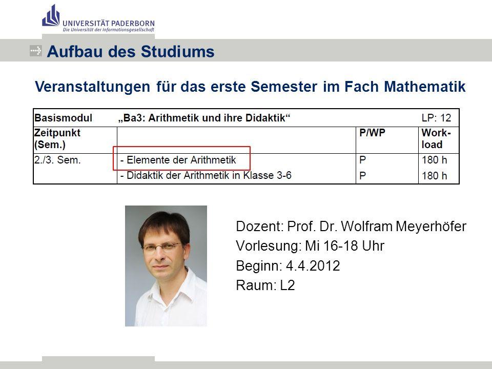 Aufbau des Studiums Veranstaltungen für das erste Semester im Fach Mathematik Dozent: Prof.