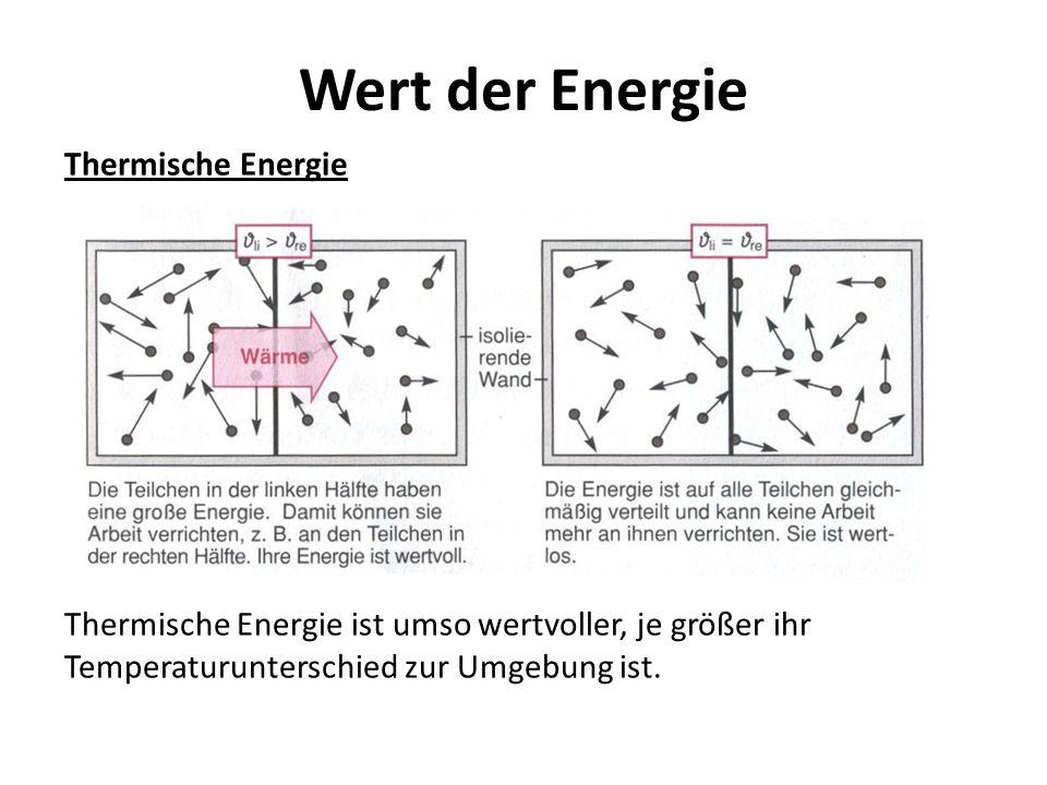 Wert der Energie Chemische Energie Chemische Energie beruht auf der Bindungsenergie der Atome bzw.