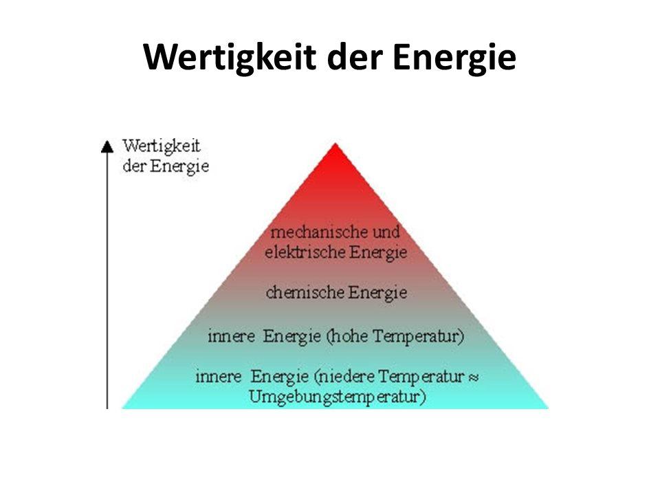 Energieentwertung Energie wird durch den Gebrauch entwertet, d.h.