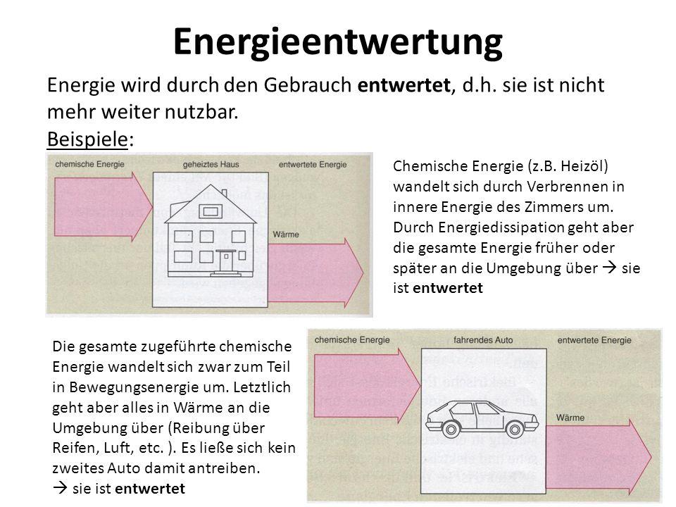 Energieentwertung Energie wird durch den Gebrauch entwertet, d.h. sie ist nicht mehr weiter nutzbar. Beispiele: Chemische Energie (z.B. Heizöl) wandel