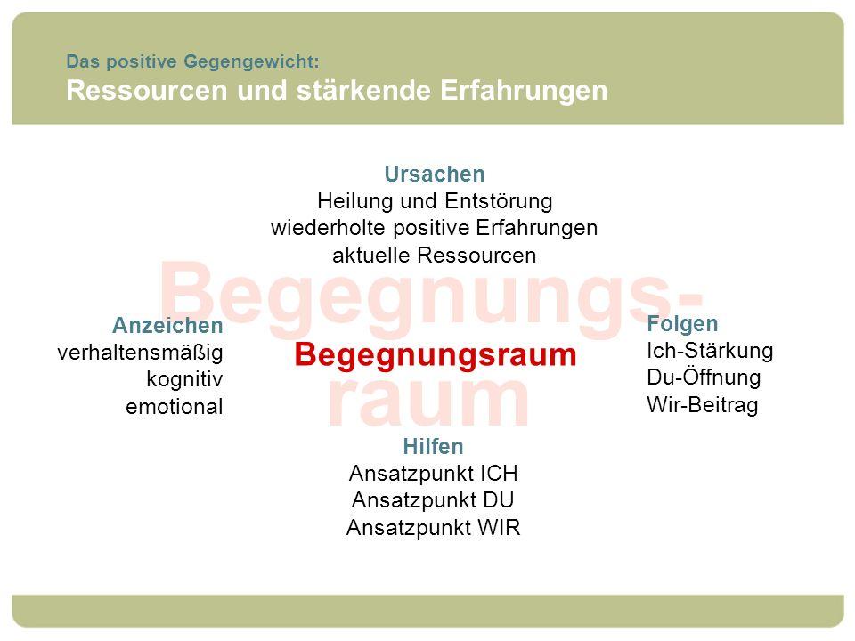 Begegnungs- raum Das positive Gegengewicht: Ressourcen und stärkende Erfahrungen Begegnungsraum Ursachen Heilung und Entstörung wiederholte positive E