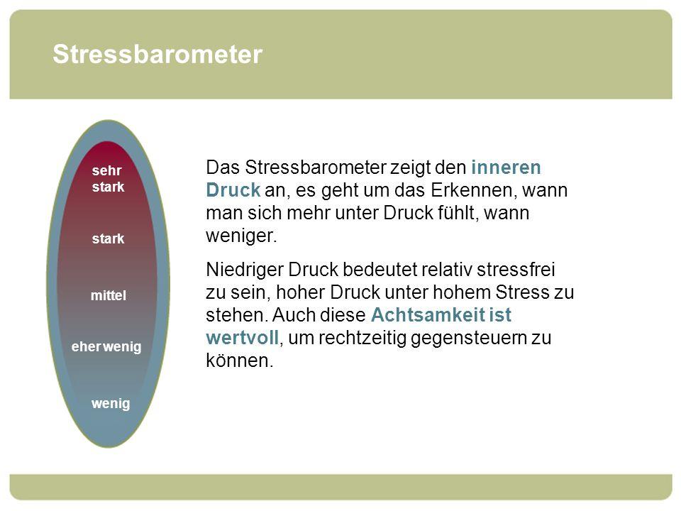 Stressbarometer Das Stressbarometer zeigt den inneren Druck an, es geht um das Erkennen, wann man sich mehr unter Druck fühlt, wann weniger. Niedriger