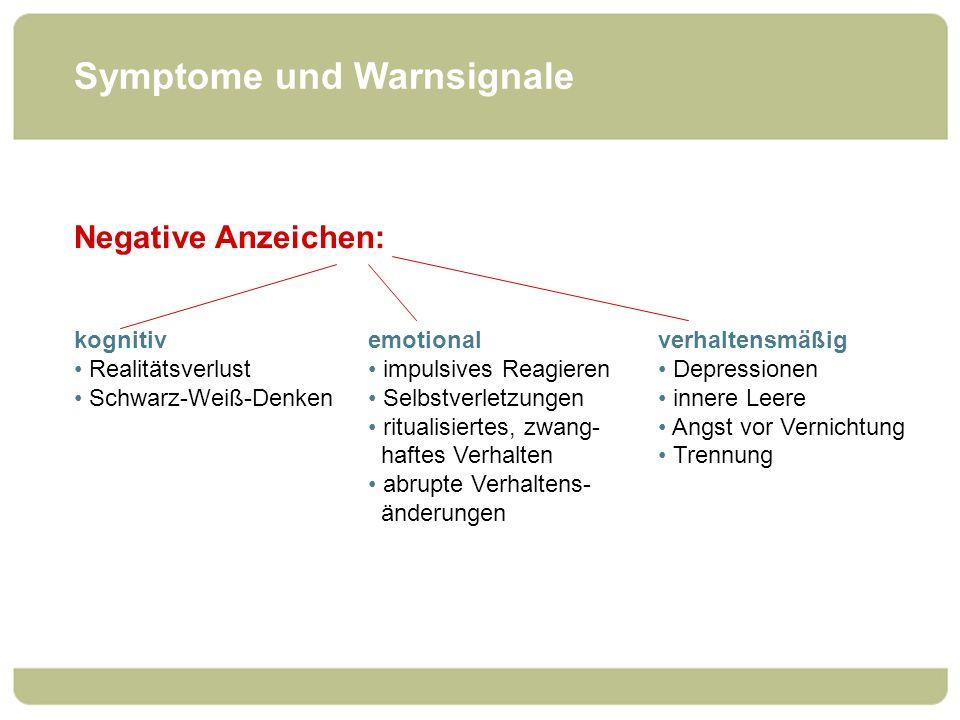 Symptome und Warnsignale Negative Anzeichen: emotional impulsives Reagieren Selbstverletzungen ritualisiertes, zwang- haftes Verhalten abrupte Verhalt