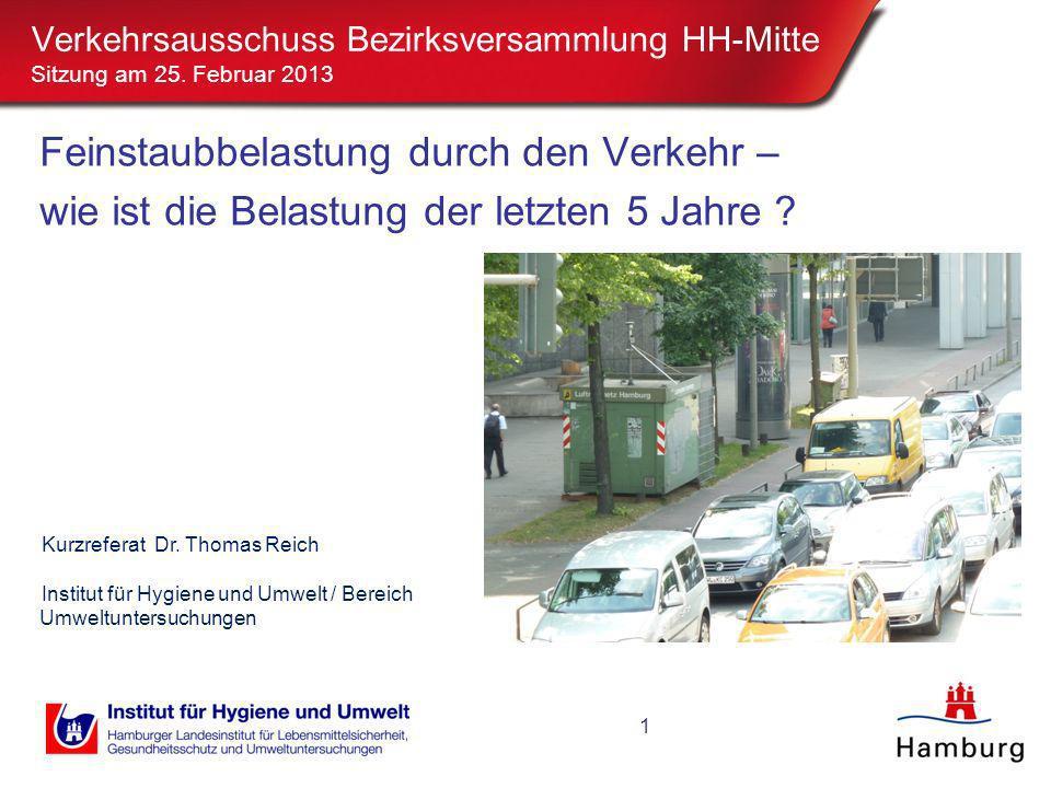 Verkehrsausschuss Bezirksversammlung HH-Mitte Sitzung am 25. Februar 2013 1 Feinstaubbelastung durch den Verkehr – wie ist die Belastung der letzten 5