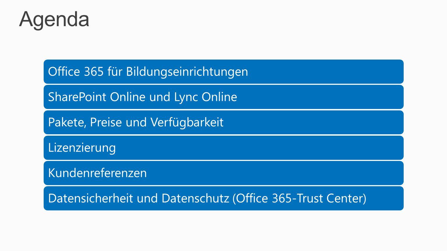 Agenda Office 365 für BildungseinrichtungenSharePoint Online und Lync OnlinePakete, Preise und VerfügbarkeitLizenzierungKundenreferenzenDatensicherhei