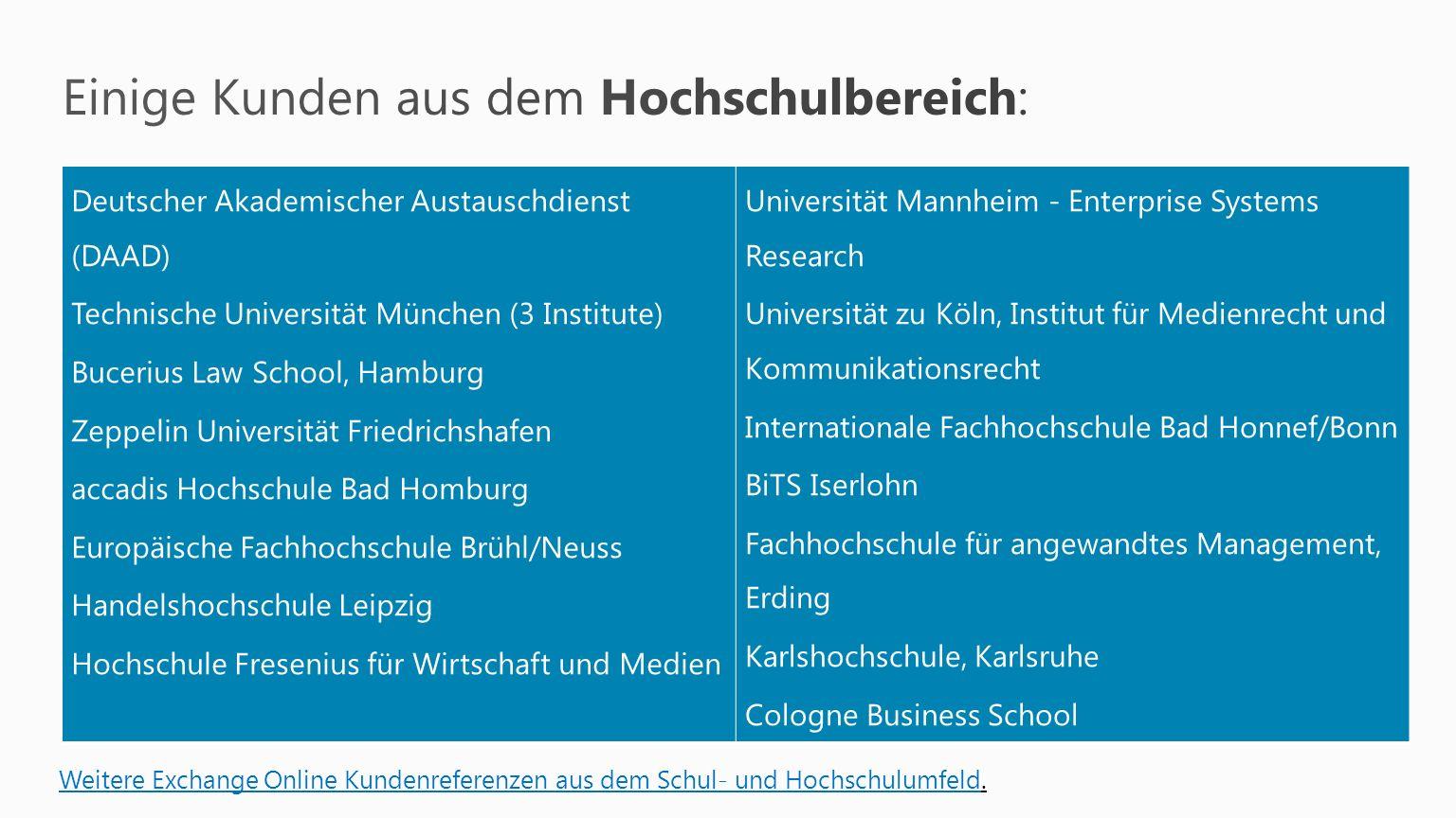 Deutscher Akademischer Austauschdienst (DAAD) Technische Universität München (3 Institute) Bucerius Law School, Hamburg Zeppelin Universität Friedrich