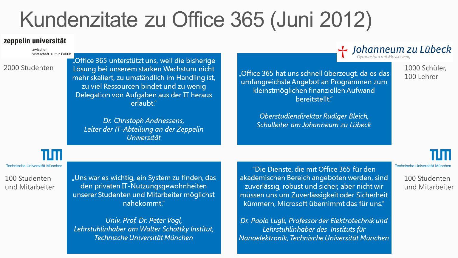 Office 365 unterstützt uns, weil die bisherige Lösung bei unserem starken Wachstum nicht mehr skaliert, zu umständlich im Handling ist, zu viel Ressou