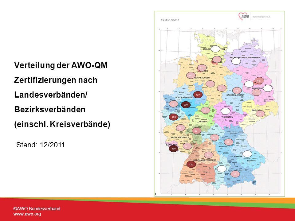 Verteilung der AWO-QM Zertifizierungen nach Landesverbänden/ Bezirksverbänden (einschl.