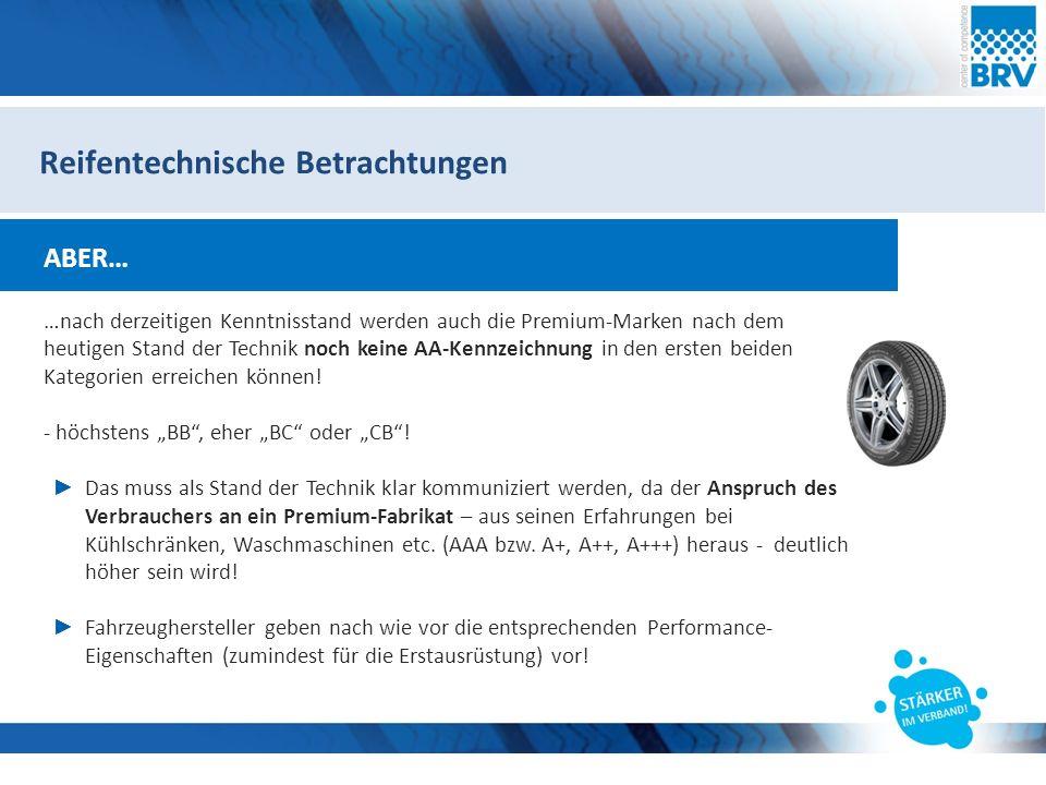 Hier steht eine Headline Subheadline Reifentechnische Betrachtungen ABER… …nach derzeitigen Kenntnisstand werden auch die Premium-Marken nach dem heutigen Stand der Technik noch keine AA-Kennzeichnung in den ersten beiden Kategorien erreichen können.