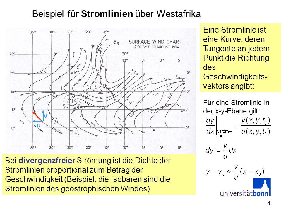 4 Beispiel für Stromlinien über Westafrika Eine Stromlinie ist eine Kurve, deren Tangente an jedem Punkt die Richtung des Geschwindigkeits- vektors an