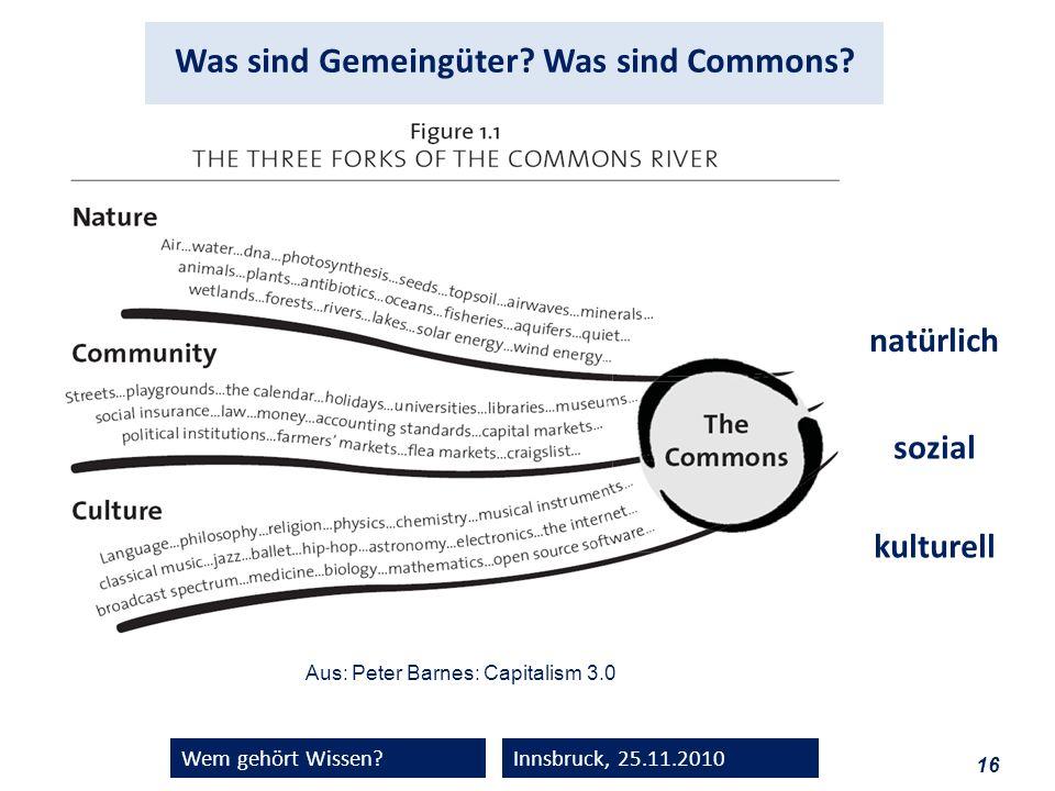 16 Wem gehört Wissen?Innsbruck, 25.11.2010 Aus: Peter Barnes: Capitalism 3.0 natürlich sozial kulturell Was sind Gemeingüter? Was sind Commons?