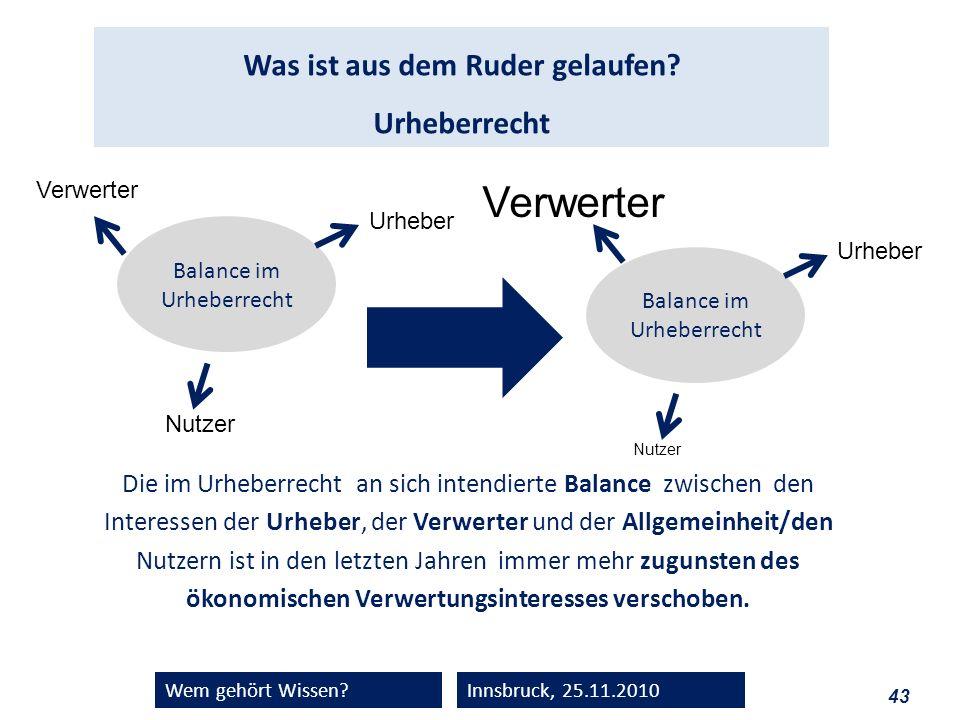 43 Wem gehört Wissen?Innsbruck, 25.11.2010 Was ist aus dem Ruder gelaufen? Urheberrecht Die im Urheberrecht an sich intendierte Balance zwischen den I
