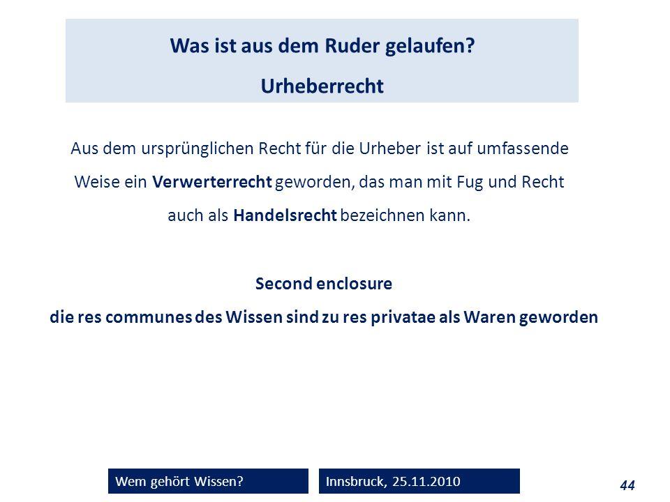 44 Wem gehört Wissen?Innsbruck, 25.11.2010 Was ist aus dem Ruder gelaufen? Urheberrecht Aus dem ursprünglichen Recht für die Urheber ist auf umfassend